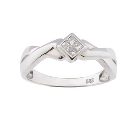 Christian wit gouden ring met princess diamant