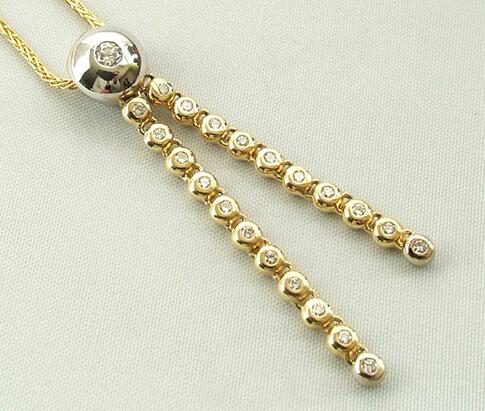 Bicolor gouden collier diamanten hanger