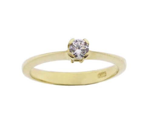 Christian 14 karaat geel gouden zirkonia ring