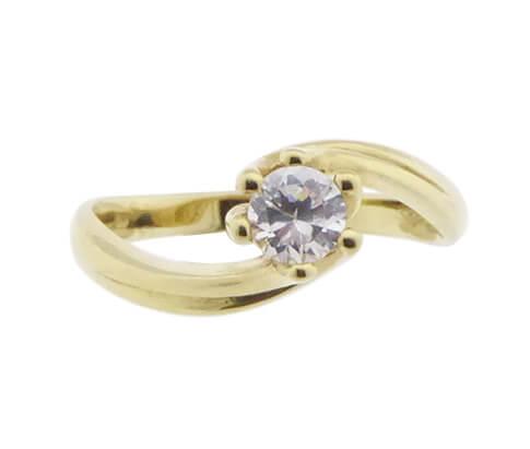 Gouden gekrulde zirkonia ring